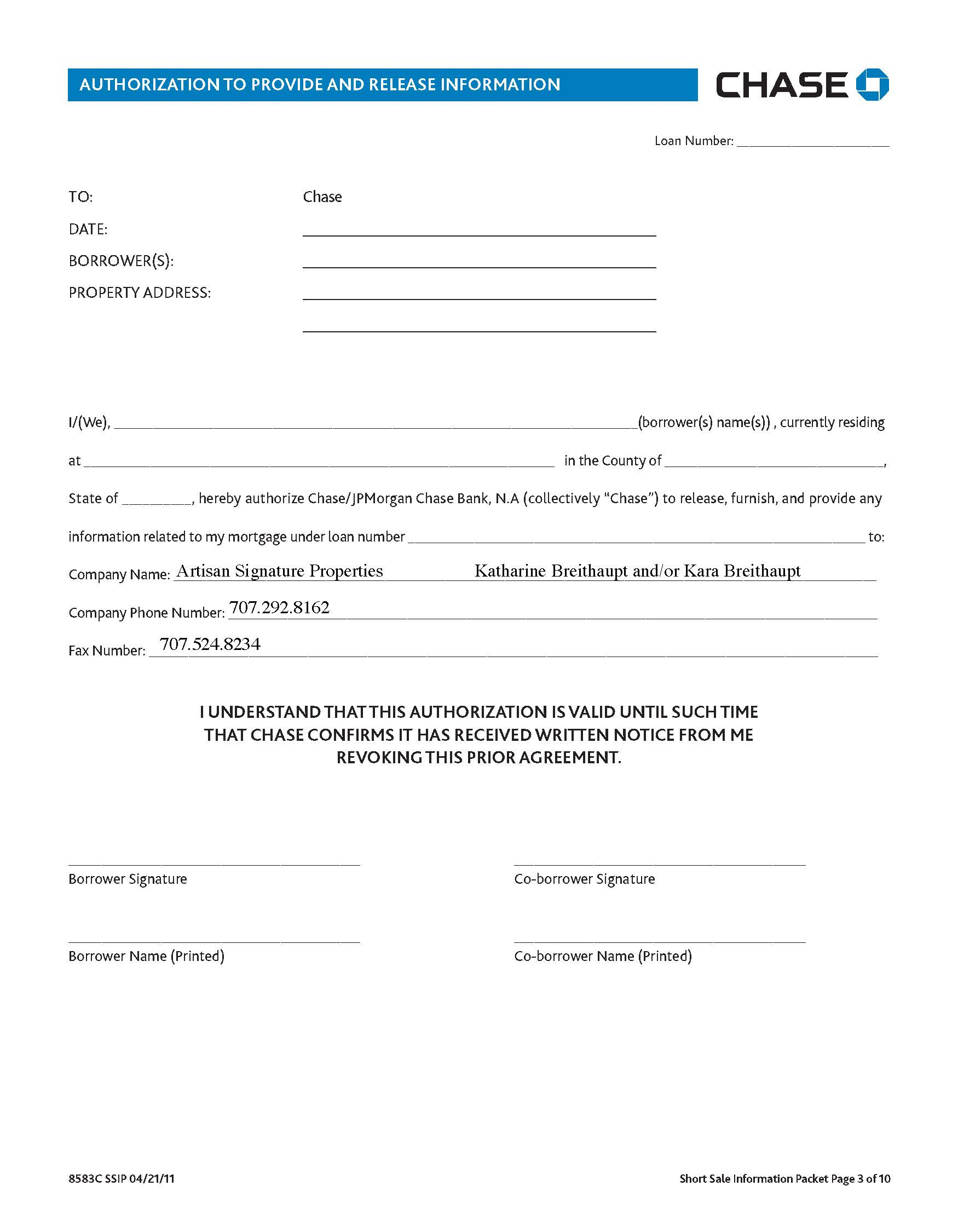 Mortgage Rd Party Authorization Letter Template
